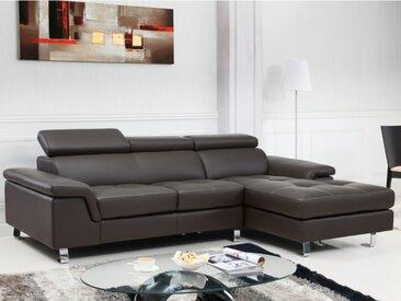 Canapé d'angle cuir MISHIMA - Marron - Angle droit
