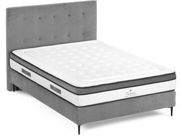 Ensemble literie déco complet tête de lit + sommier + matelas PIMPEAN de PALACIO - 160 x 200 cm  - Tissu Gris