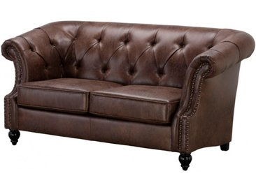 Canapé 2 places Chesterfield AQUITAINE en microfibre aspect cuir vieilli - Marron