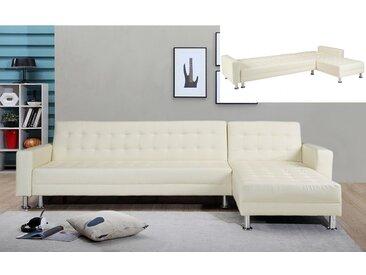 Canapé d'angle convertible et réversible en simili WILLIS - Blanc