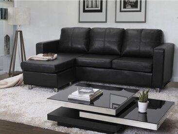 Canapé d'angle réversible en simili ACKLEY - Noir