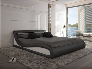 Lit LED ZALARIS - 160x200cm - Simili noir