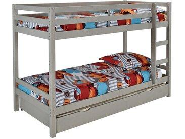 Lits superposés ANICET - 2x90x200cm avec tiroir lit gigogne 90x190cm - Pin Massif Gris