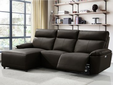Canapé d'angle relax électrique en cuir de buffle CEDRIC - Marron - Angle gauche