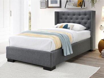 Lit MASSIMO tête de lit capitonnée - 90x200cm - Tissu gris