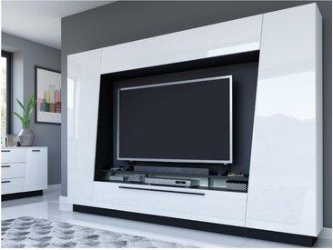 Mur TV CHACE avec rangements - LEDs - MDF laqué blanc