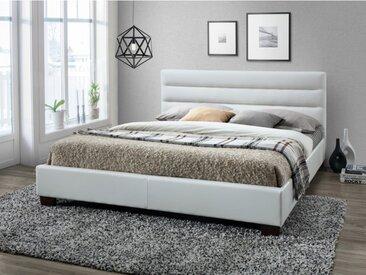 Lit FAUSTIN - 160x200cm - Simili blanc