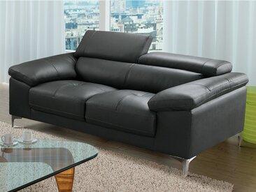 Canapé 2 places en cuir SOLANGE - Anthracite