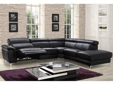 Canapé d'angle relax électrique en cuir SITIA - Noir - Angle droit