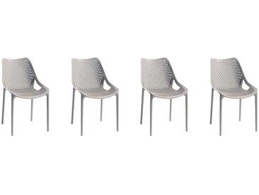 Lot de 4 chaises ANOKI - Polypropylène - Taupe