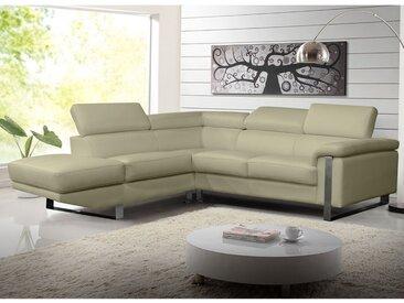 Canapé d'angle en cuir MYSTIQUE - Beige - Angle gauche