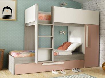 Lits superposés avec tiroir lit gigogne ANTONIO - 3x90x190cm - Armoire intégrée - Pin rose poudré et blanc