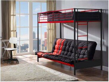 Lit mezzanine MODULO IV - 90 x 190 cm - Avec banquette convertible - Métal - Noir et rouge