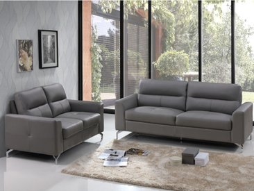Canapé 3+2 places en cuir de buffle EDORI - Gris