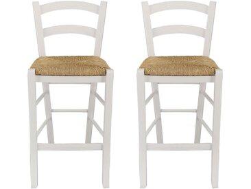 Lot de 2 tabourets de bar PAYSANNE - Hêtre massif teinté blanc, paille de riz