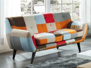 Canapé 2 places SERTI - Tissu patchwork nuances orange/beige