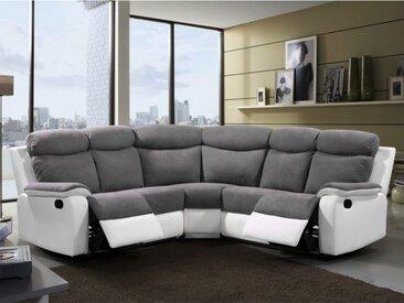 Canapé d'angle relax en microfibre et simili BILSTON - Gris et blanc