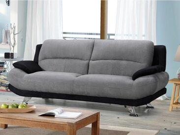 Canapé 3 places en microfibre MUSKO - Bicolore gris et noir