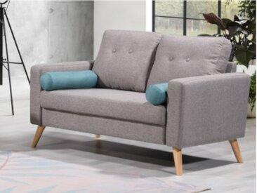 Canapé 2 places TATUM en tissu - Gris chiné