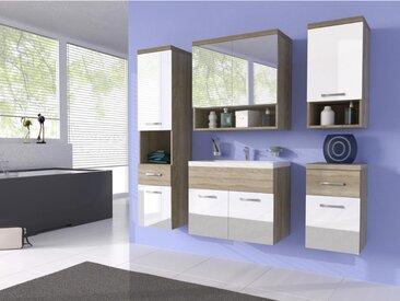 Ensemble LUISA - meubles de salle de bain - laqué blanc et bois