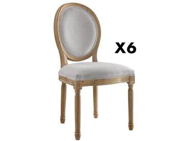 Lot de 6 chaises LOUIS XVI - Velours - Coloris gris pâle