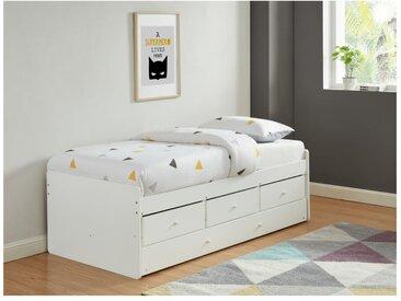 Lit gigogne TITOUAN avec 3 tiroirs - 90 x 190 cm - MDF et Pin - Blanc
