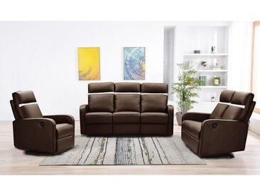 Canapé 3+2+1 places relax électrique en cuir ABERDEEN - Marron et bande ivoire