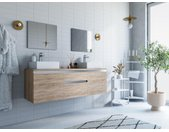 Ensemble de salle de bain suspendu avec double vasque et miroirs JIMENA - couleur chêne