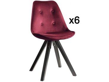 Lot de 6 chaises scandinaves ANEYA - Velours & Pieds Hévéa - Bordeaux