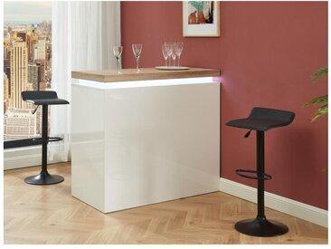 Meuble de bar HALO II - MDF laqué blanc - LEDs - Blanc et Chêne