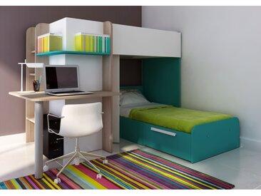Lits superposés SAMUEL - 2x90x190cm - Bureau intégré - Pin blanc et turquoise