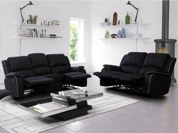 Canapé 3+2 places relax en microfibre HERNANI - Noir