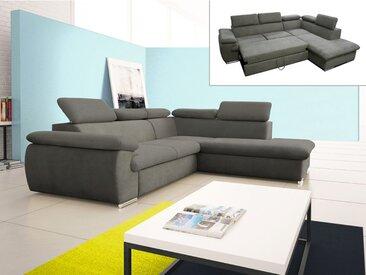 Canapé d'angle convertible en tissu avec coffre de rangement FABIEN - Taupe - Angle droit
