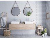 Meuble de salle de bain suspendu avec double vasque ISAURE - couleur chêne