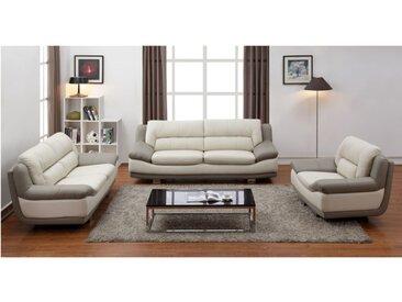 Canapé 3+2+1 places en cuir THOMAS - Bicolore ivoire et taupe