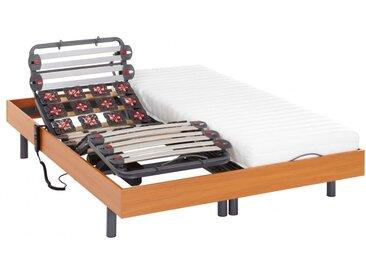 Lit électrique relaxation lattes et plots matelas latex PANDORA II de DREAMEA - moteurs OKIN - merisier - 2x70x190cm