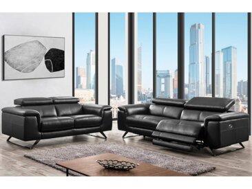 Canapé 3+2 places relax électrique en cuir avec têtières BREYT - Noir