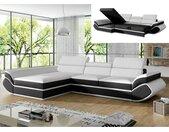 Canapé d'angle convertible en simili ORLEANS  - Blanc et bandes noires - Angle gauche