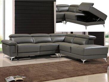 Canapé d'angle relax électrique en cuir PASCALINE - Anthracite - Angle droit