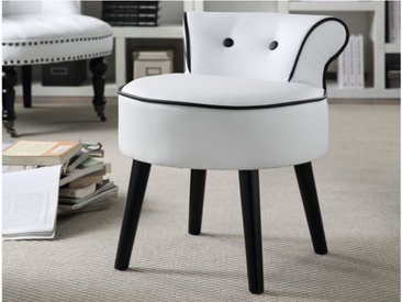 Petit fauteuil crapaud SAVEA en simili - Blanc et boutons noirs