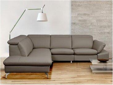 Canapé d'angle relax électrique en cuir GLADSTONE - Taupe - Angle gauche