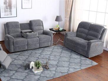 Canapé 3+2 places relax électrique en tissu NEVERSI - Anthracite