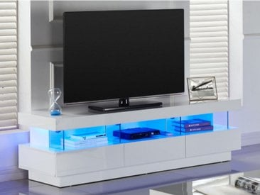 Meuble TV FABIO - MDF laqué blanc - LEDs - 3 tiroirs & 3 niches