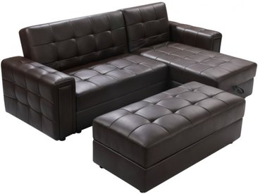 Canapé d'angle simili coffre + pouf coffre ORIGAMI III - Chocolat