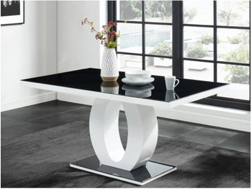 Table à manger TWIST - 6 couverts - MDF laqué & Verre trempé - Noir & Blanc