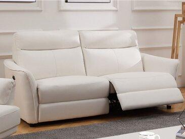 Canapé 3 places relax électrique en cuir WATFORD - Blanc