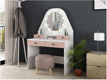 Coiffeuse GABRIELA - Miroir à LEDs et rangements - rose poudré