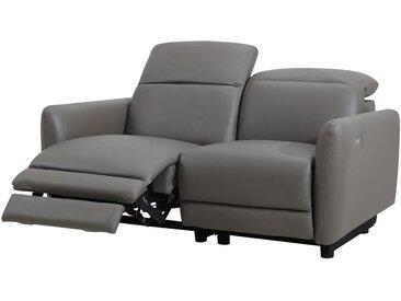 Canapé 2 places relax électrique CLEOPHEE en cuir supérieur - Taupe