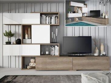 Mur TV modulable NICOSIA avec rangements - Chêne & blanc