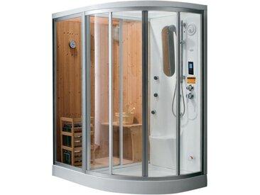 Cabine de douche intégrale d'angle  HAUMEA fonction Hammam et Sauna- l157xP110xH215cm - Angle gauche
